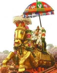Azhagar, getting into Vaigai